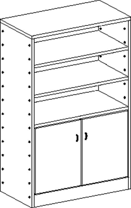 Korpusschrank mit 4 Einlegeböden und 2 Türen, decor Buche