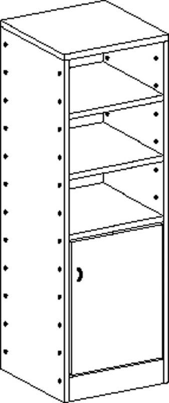 Korpusschrank mit 4 Einlegeböden und 1 Tür, decor Buche