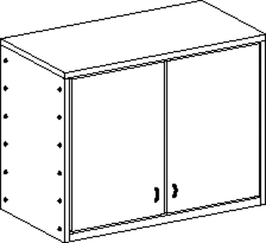 Korpusschrank ohne Sockel mit 2 Einlegeböden und 2 Türen