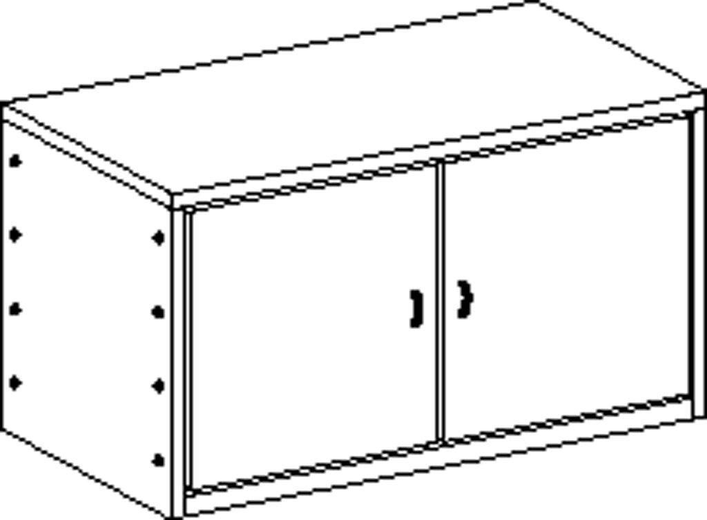 Korpusschrank ohne Sockel mit 1 Einlegeboden und 2 Türen