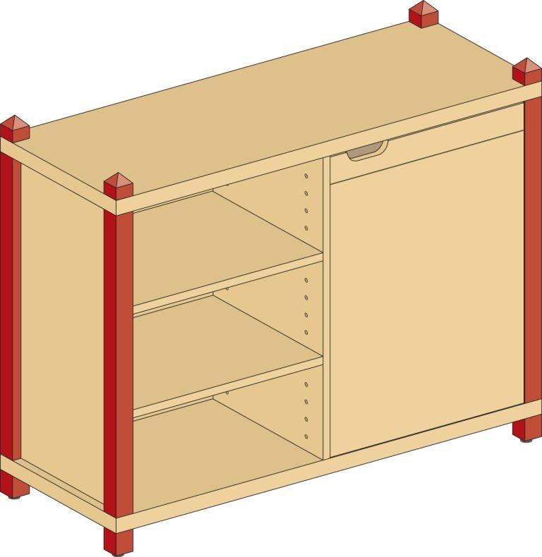 Korpusschrank mit 1 Tür und 4 Fachböden