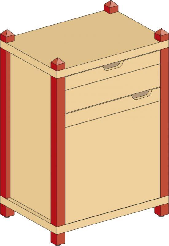 Korpusschrank mit 1 Tür und 1 Schubkasten