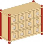 Details anzeigen - Korpusschrank mit 2 Einlegeböden und 12 Eigentumskästen