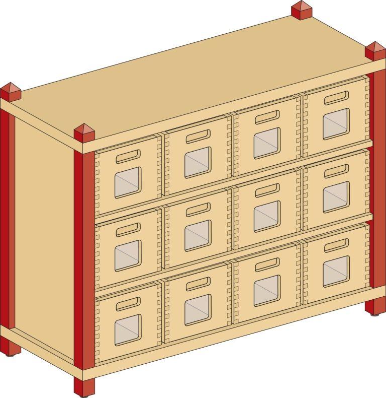 Korpusschrank mit 2 Einlegeböden und 12 Eigentumskästen