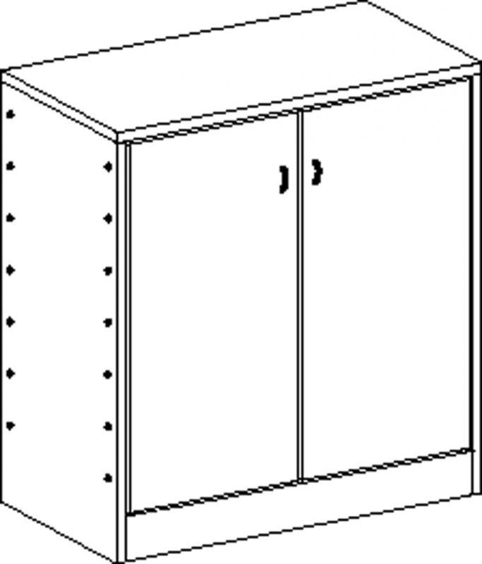 Korpusschrank mit 2 Einlegeböden und 2 Türen