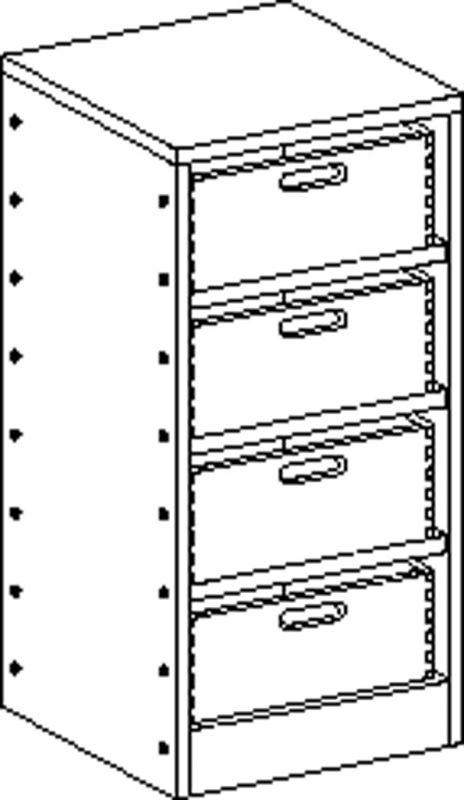 Korpusschrank mit 3 Einlegeböden und 4 Eigentumskästen