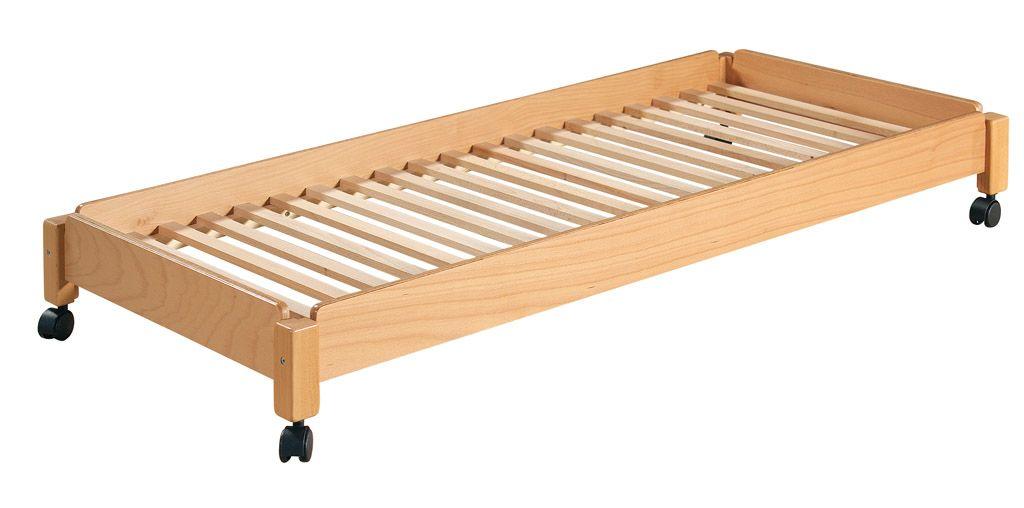 Stapelbares Bett 130x60 cm, mit Rollen, natur