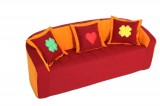 Sofa, vinous / orange