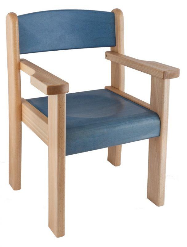 Stuhl TIM II mit Armlehne, Sitz und Rückenlehne gebeizt