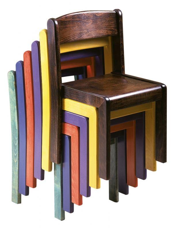 Stapelbar Stuhl TIM - voll gebeizt