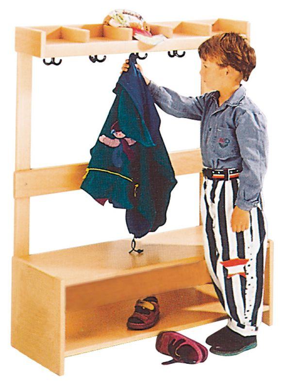 Garderobe Komplett mit Rückwand, 5 Plätze, natur