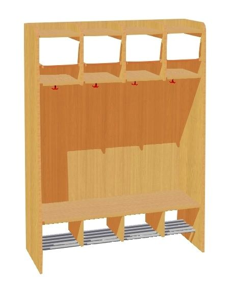 Garderobe Komplett mit Rückwand, 4 Plätze