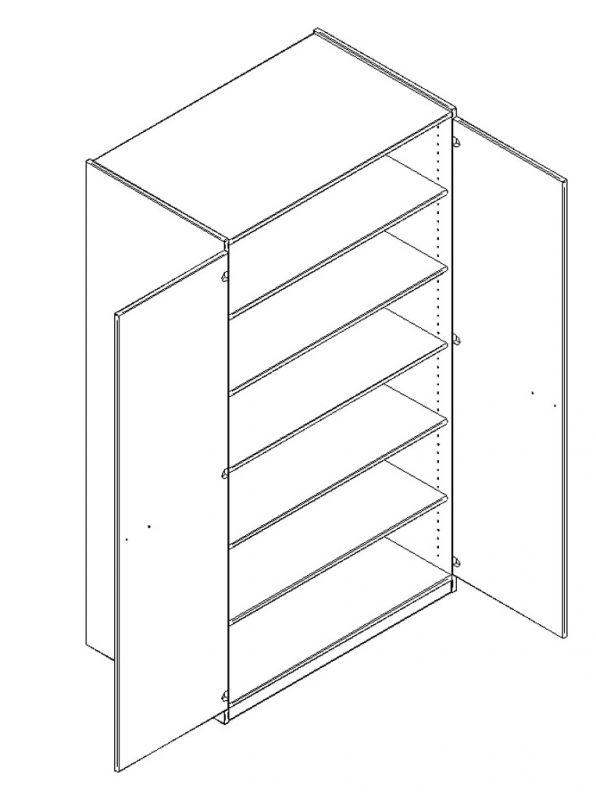Korpusschrank mit Einlegeböden und abschließbaren Türen