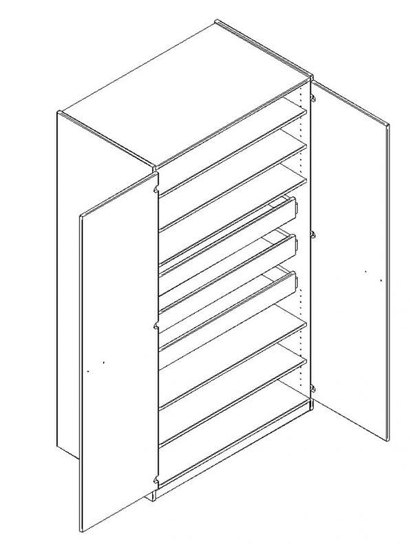 Materialschrank mit abschließbaren Türen