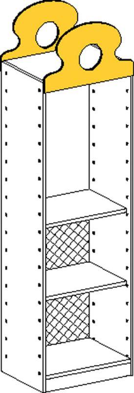 Korpusschrank mit 1 fest Einlegeböden und 1 einstellbar Einlegeböden und Rückwand bis 1/3