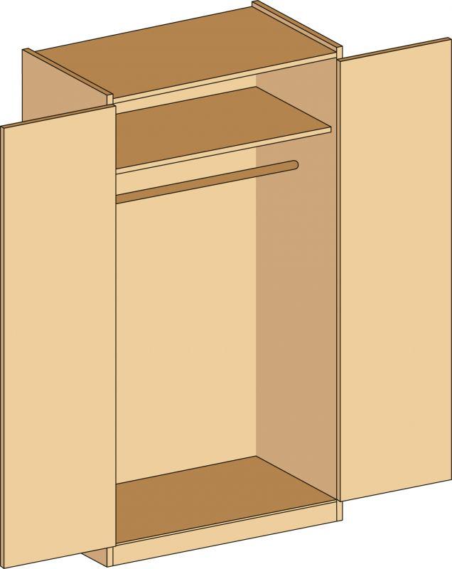 Garderobenschrank mit abschließbare Türen, decor Buche