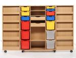 Materialschrank mit Rollen, Aufklappbar, inkl. Kunststoffkästen