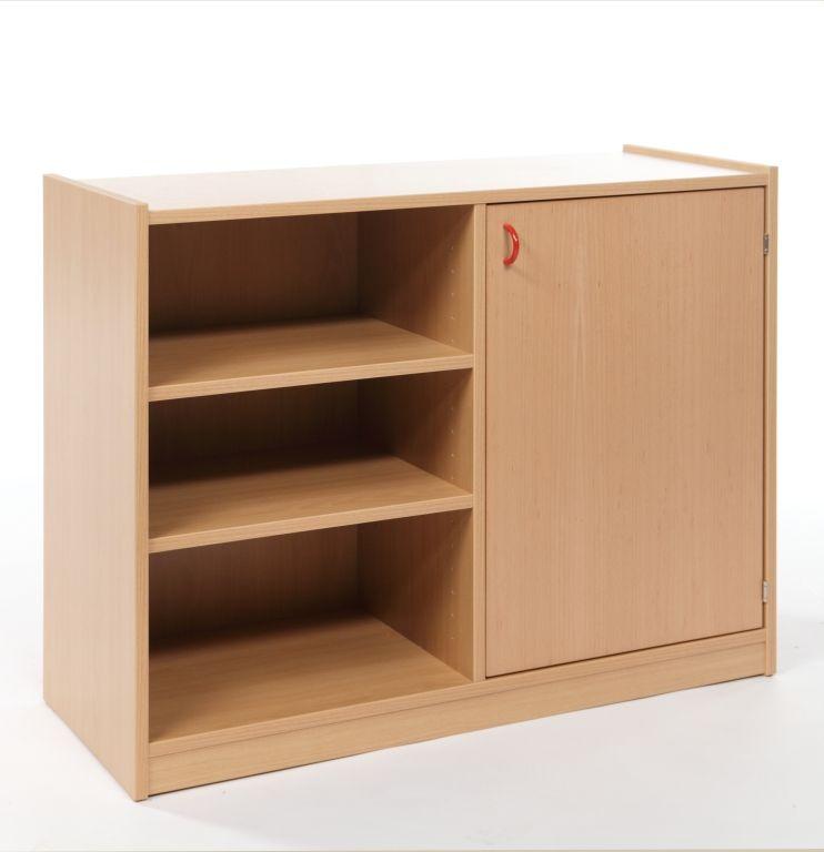Korpusschrank mit 1 Tür und 4 Fachböden, decor Buche
