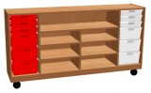 Materialschrank mit Rollen, inkl. Kunststoffkästen