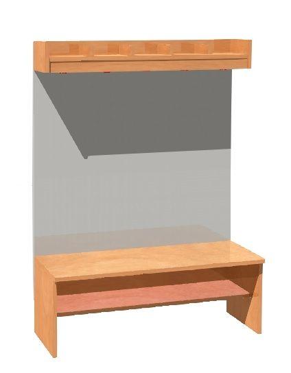 Garderobe Komplett mit Stütze und Rückenlehne, 5 Plätze