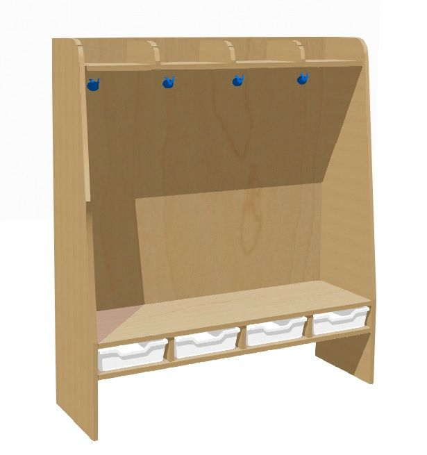 Garderobe komplett 4-Sitzer mit Kunststoff-Boxen