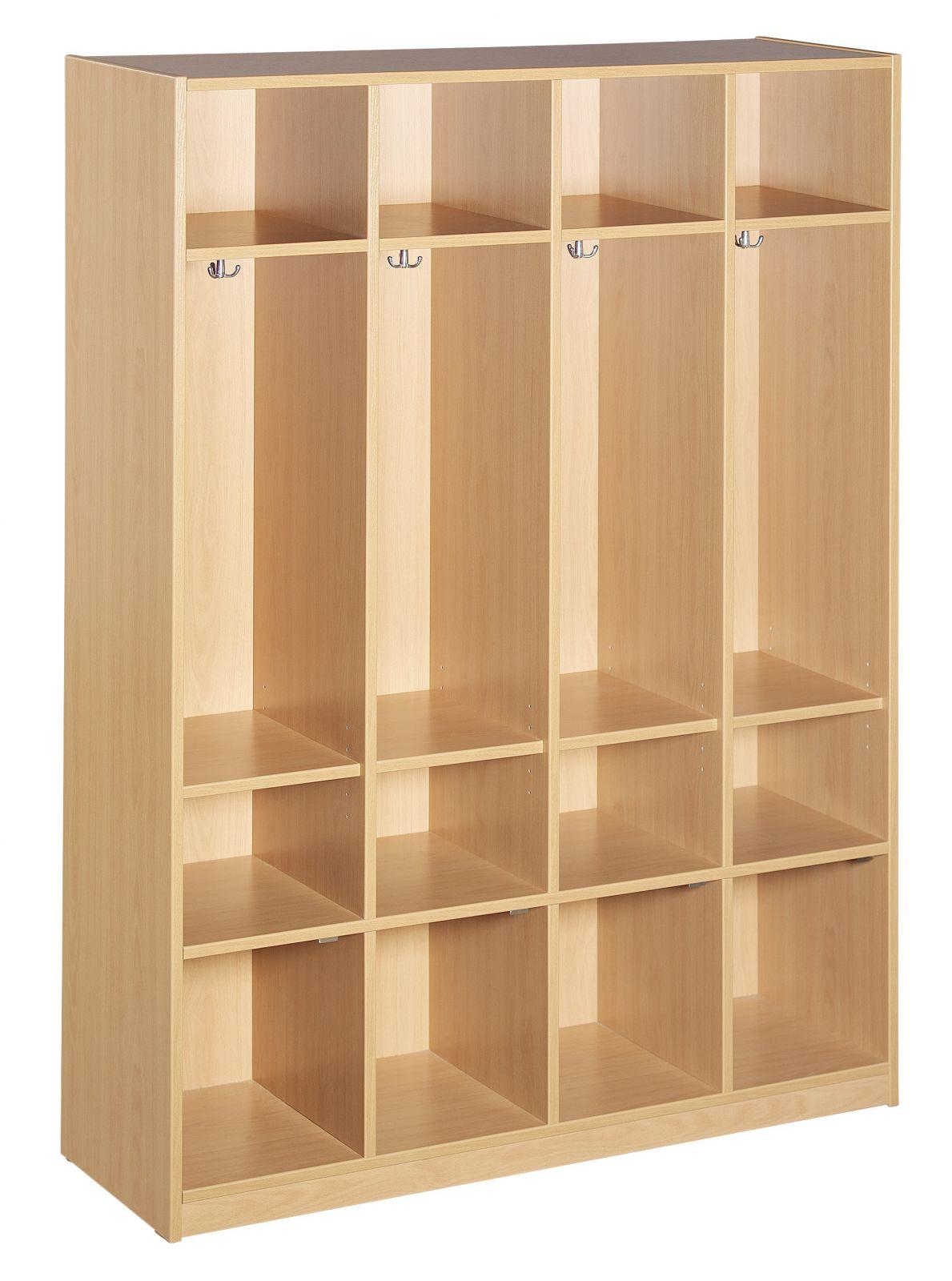 Garderobenschrank ohne Türen, 4 Plätze