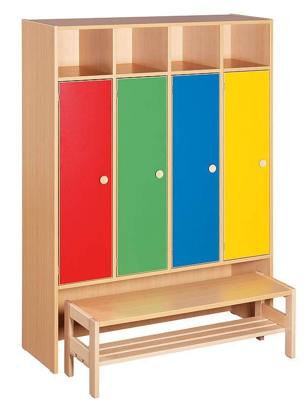 Garderobe mit Bank ohne Schlösser, Farben mix