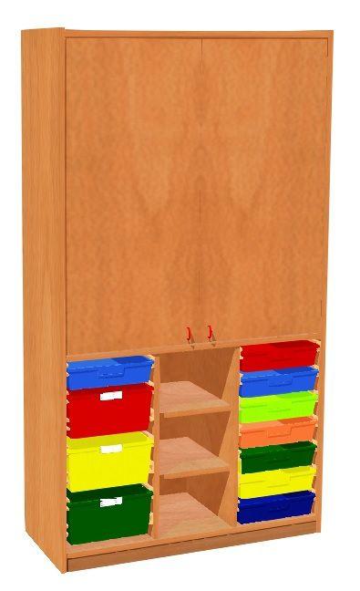 Schrank mit Türen und 11 Kunststoffschubladen