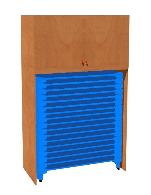 Schrank zur Lagerung von Kunststoffstühle und Bettzeugen TVAR v.d. Klatovy