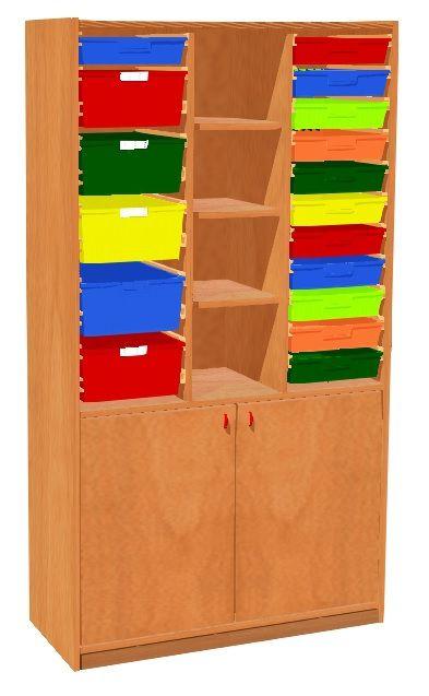 Schrank mit Türen und 17 Kunststoffschubladen