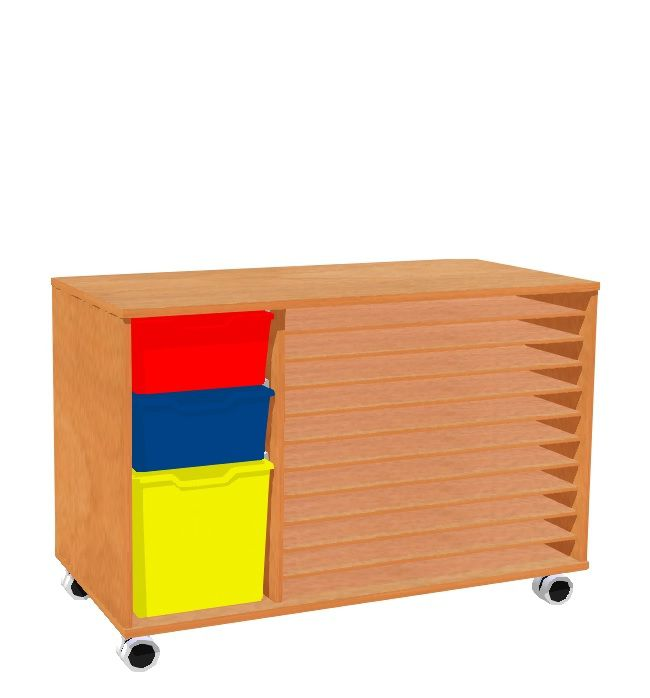 Schrank mit 10 Ablagen für Papiere und A2 sind 3 Kunststoffschubladen, Räder MIKI ROLL