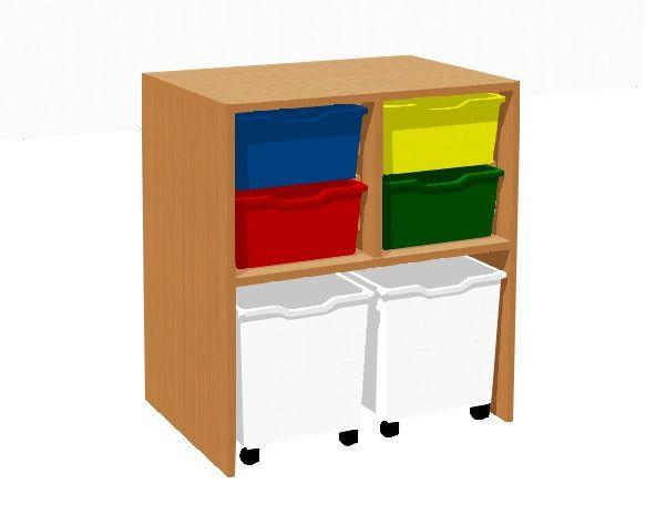 Schrank mit 4 Kunststoffschubladen und 2 Schubladen auf Rädern TVAR v.d. Klatovy