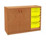Korpusschrank mit 2 Türen links und 3+1 Plastik-Schubfächer TVAR v.d. Klatovy