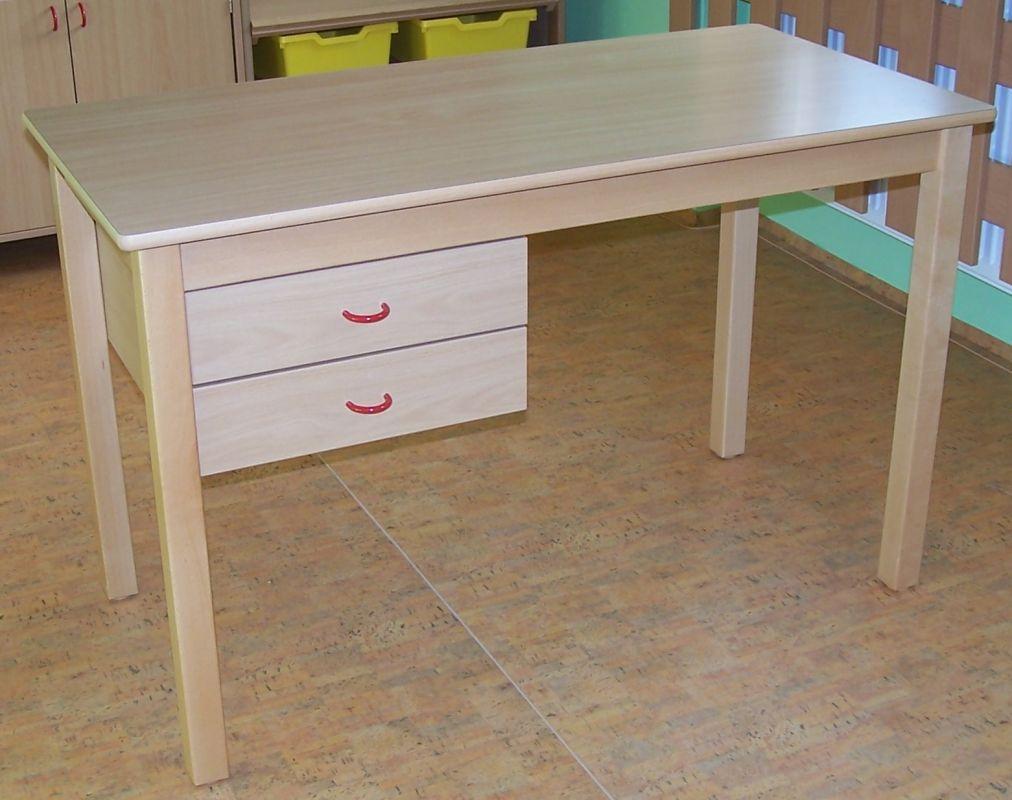 Lehrertisch mit 2 Eigentumskästen links