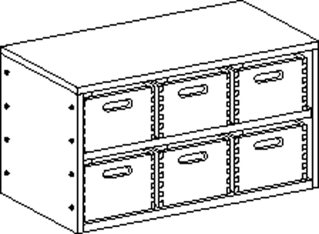 Korpusschrank ohne Sockel mit 1 Einlegeboden und 6 Eigentumskästen