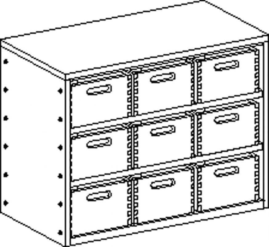 Korpusschrank ohne Sockel mit 2 Einlegeböden und 9 Eigentumskästen