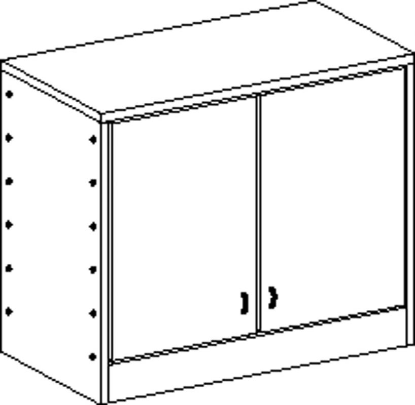 Korpusschrank mit Sockel, 2 Einlegeböden und 2 Türen, decor Buche