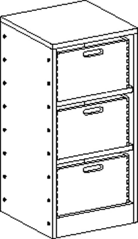 Korpusschrank mit Sockel, 2 Einlegeböden und 3 Eigentumskästen