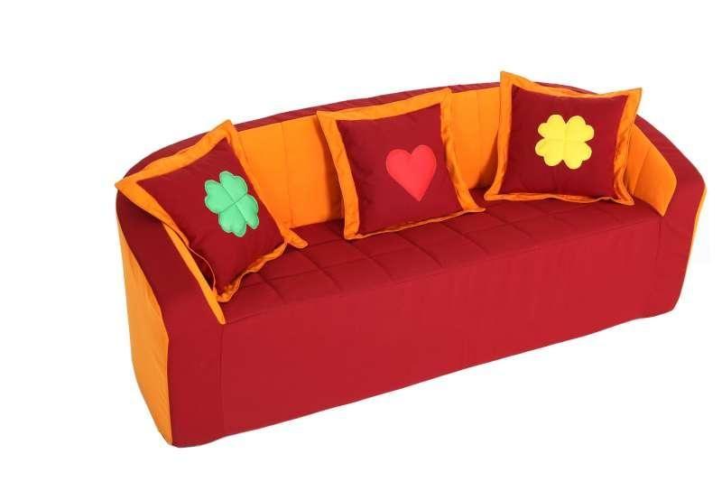 Sofa, vinous / orange