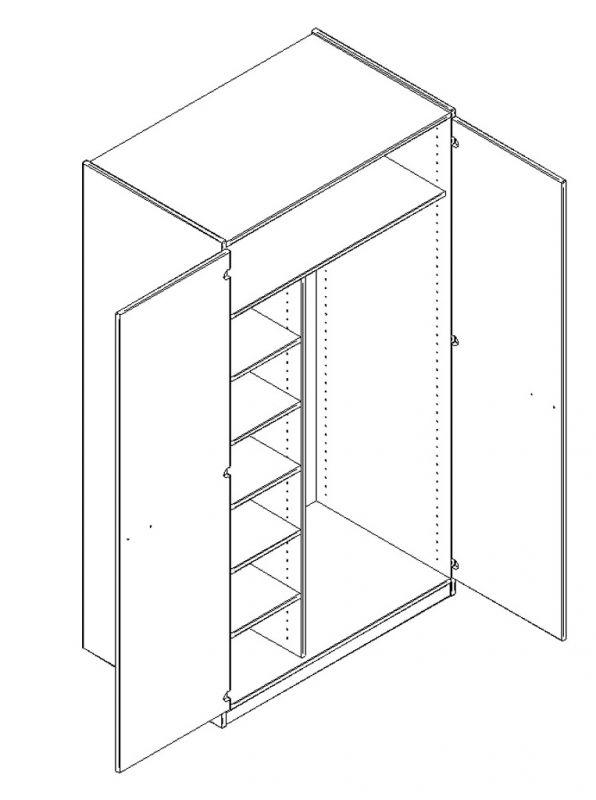 Garderobenschrank mit abschließbaren Türen