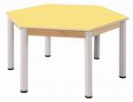 Hexagonal Tisch 120 cm / Höhenverstellbare Füße 52 - 70 cm