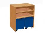 Kabinett Regal mit 2 Kunststoffschubladen auf Rädern
