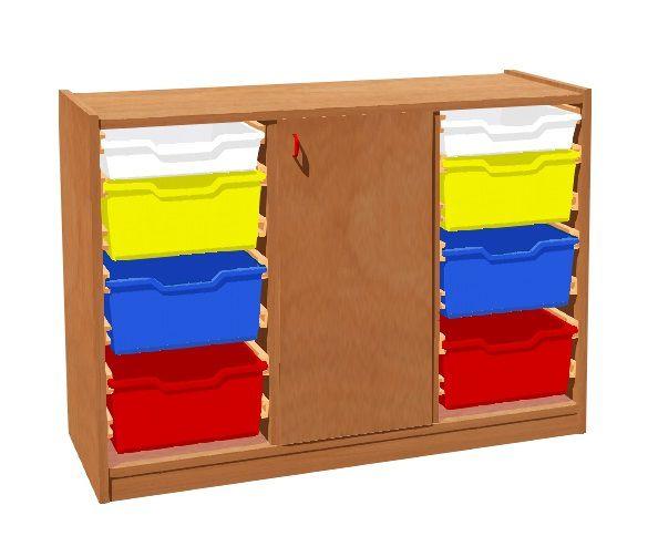 Korpusschrank mit Tür und 6+2 Plastik-Schubfächer TVAR v.d. Klatovy