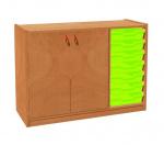 Korpusschrank mit 2 Türen links und 7 Plastik-Schubfächer TVAR v.d. Klatovy