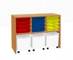 Kabinett Regal mit 12 Kunststoffschubladen und 3 Schubladen auf Rollen